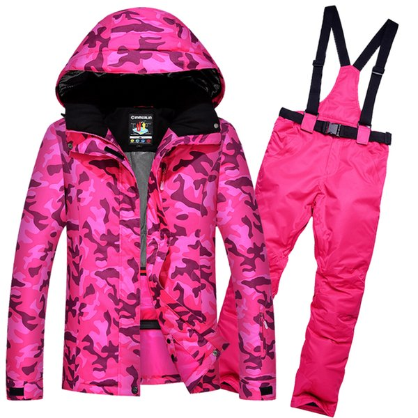 Waterproof ski suit women camping Mountain skiing suit for women's thicken warm ski snow jacket snowboard pant female