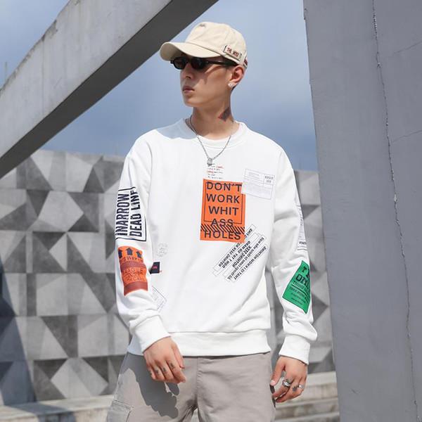 2020 Spring Новая INS Tide Brand Mens конструктора Толстовки Черный Белый пуловер Толстовки Свободные хип-хоп толстовки Streetwear Мужская одежда