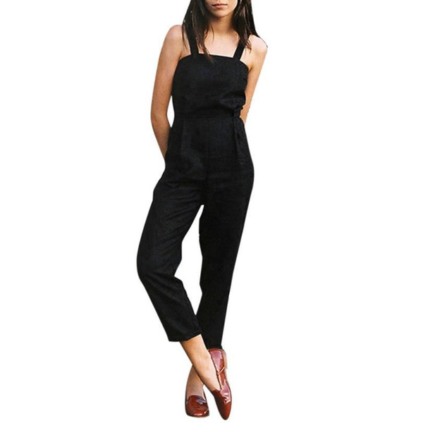 Fashion Summer Women Strap Sleeveless Backless Jumpsuit Long Wide Leg Trouser Rompers tracksuits Body Overalls for women Catsuit