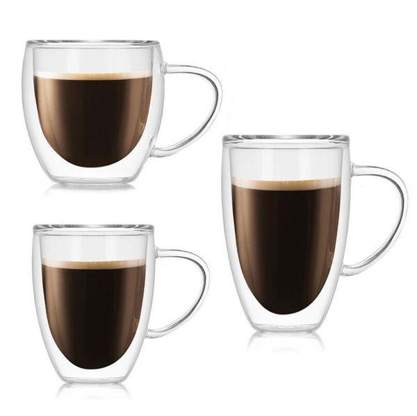 1 Unids Resistente al Calor Doble Pared de Vidrio Taza de Cerveza Taza de Café conjunto Hecho A Mano Creativo Taza de Cerveza Té de vidrio Whisky Vasos de Vidrio Drinkware al por mayor