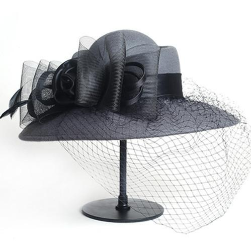 Women Floppy Hat Wool Floral Veil Netting Feather Wide Brim Hat Fedoras Formal Occasion Dance Party Summer Beach