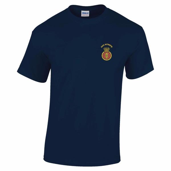 HMS Intrepid Вышитая Футболка Мужчины Женщины Мужская Мода футболка Бесплатная Доставка