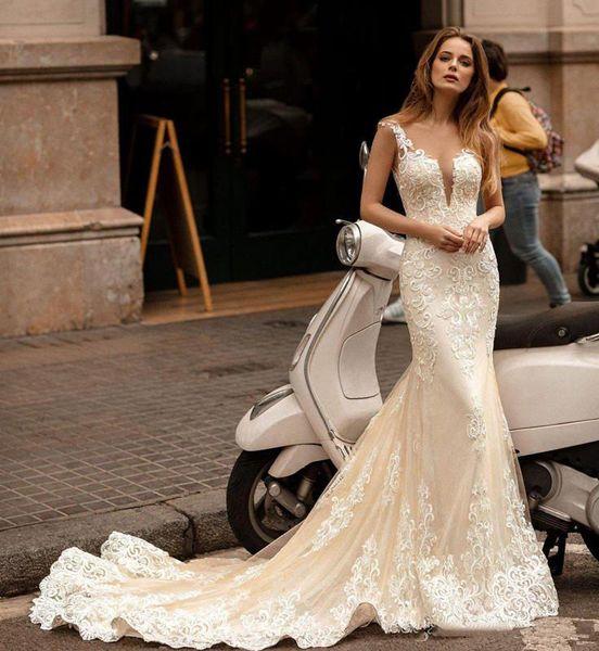 Champagne Ivory sirena Abiti da sposa con Capo 2020 del merletto di Applique O-collo puro Berta coperto Torna tromba sposa abito Abiti da sposa