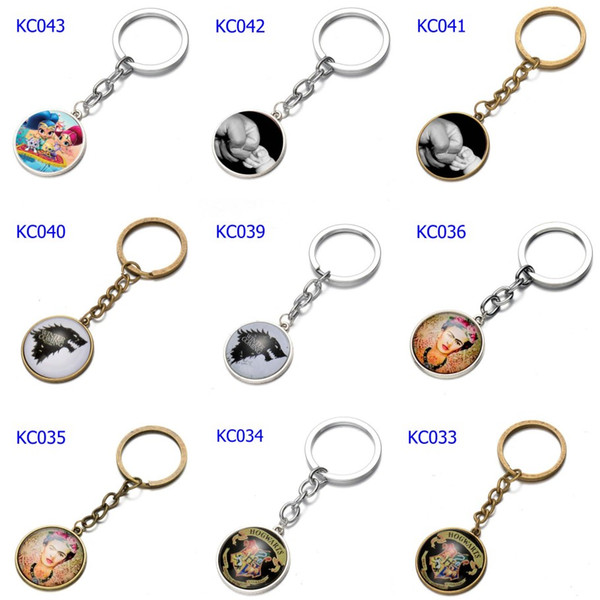 66 Styles Alloy Love Keychains Harry Potter Mom Car Keychains Time Gem Single Side Cartoon Games Bags Keychain
