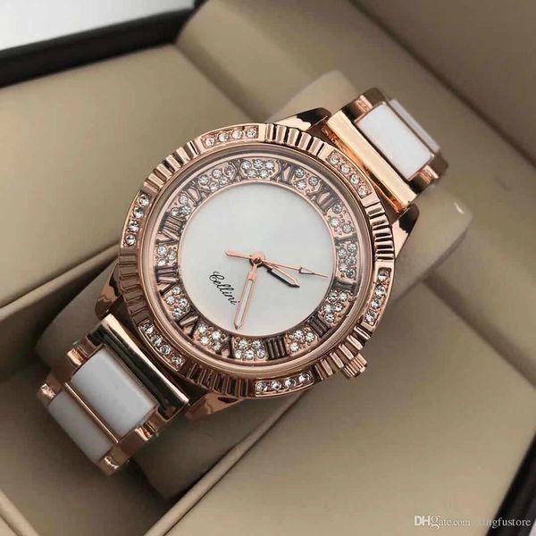 Diamond ceramic watch luxury fa hion female diamond cry tal tainle teel ceramic quartz wri twatch