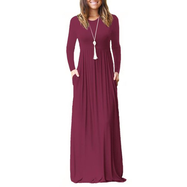 2019 Womens Clothing Fashion Solid Color Long Dress for Women Csual Pocket Dresses with Long Sleeve Crew Neck S-XXL
