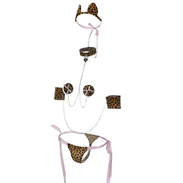 Woman Leopard Print Teddy Costume with Headpiece Sexy Long Lace Dress SheerSleepwear Romper for night dress