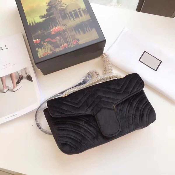 sacs à bandoulière designer marque classique sac de velours messenger sac à bandoulière chaîne sac à poussière sac réception cadeau boîte sacs à main dames sac à main
