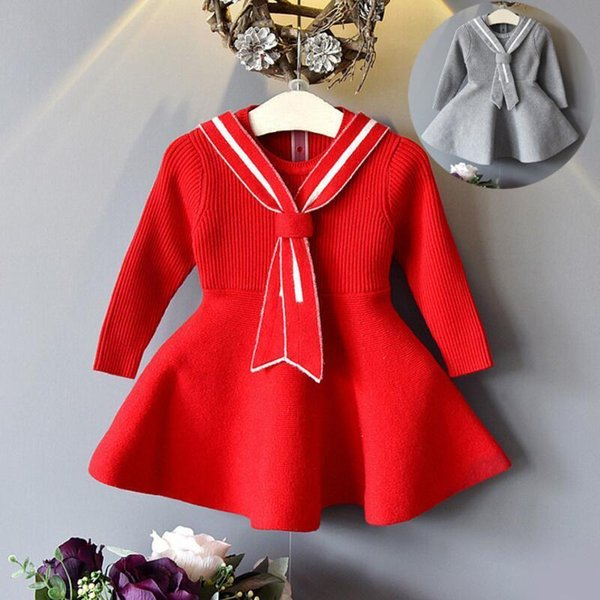 High Quality 2017 Spring Fall Toddler Clothes Baby Girls Dress School Long Sleeve Princess Tie Knit Kids Dresses For Girl Jw2538 J190506
