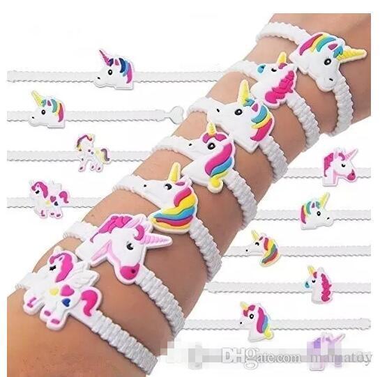 NUEVAS pulseras de unicornio fiesta de cumpleaños de Favors Supplieggs para niños niñas juguetes emoticonos premios regalos compras gratis