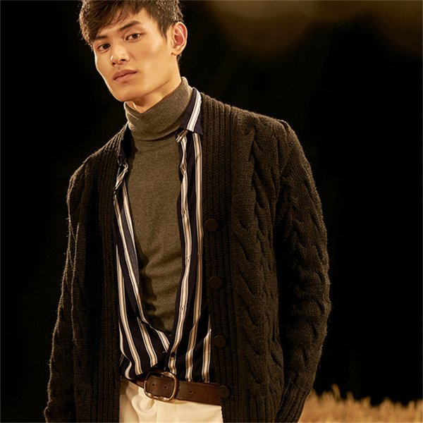 new fashion 100% hand made pure wool Vneck knit men solid loose single breasted cardigan sweater one&over size