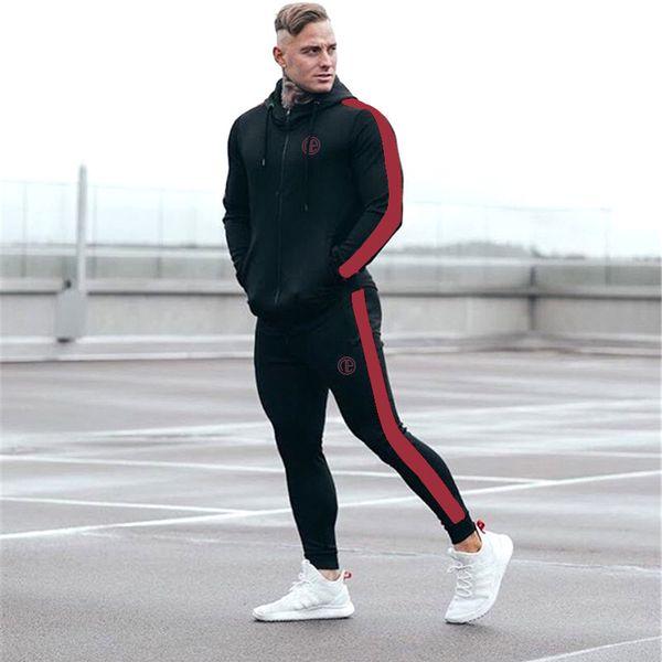 Autumn Men Sportswear Tracksuit Zip Up Hoodies Jacket Sweatshirt+pants Running Jogging Casual Fitness Gym Workout Set Sport Suit