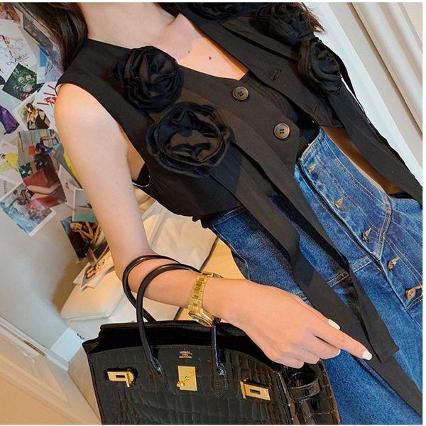 [EWQ] Diseño de tendencia Plisada Impresión 3D Flor de la cinta de la borla Negro Camis Tank Tops Moda de alta calidad de las mujeres 219 Otoño nuevo QK167