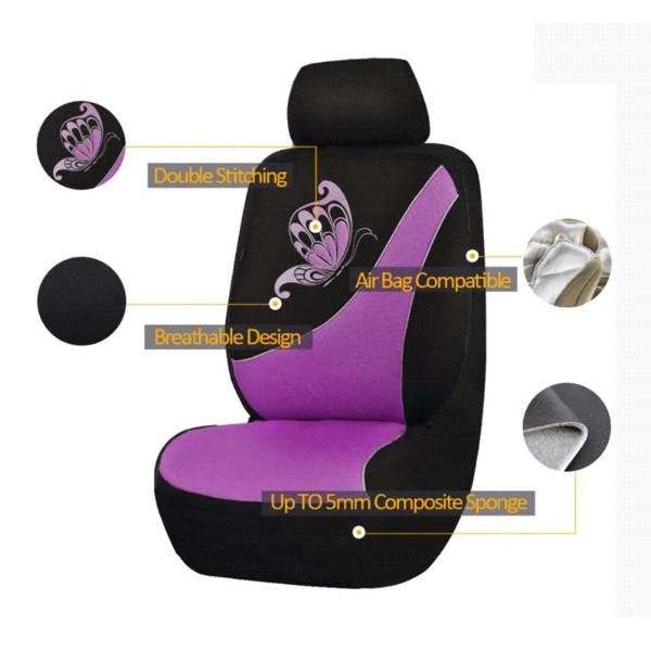 flyingBanner Papillon Impression Respirant Sandwich Tissu Couverture de siège de voiture Fit universel La plupart des véhicules Couverture de siège rose Car-Styling