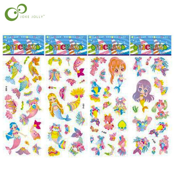 best selling Classic Toys Sticker 5 Sheets Dressing Up Mermaid Sticker DIY make up Stickers Cartoon Children Stickers Toys PVC Scrapbook Gifts For Kids