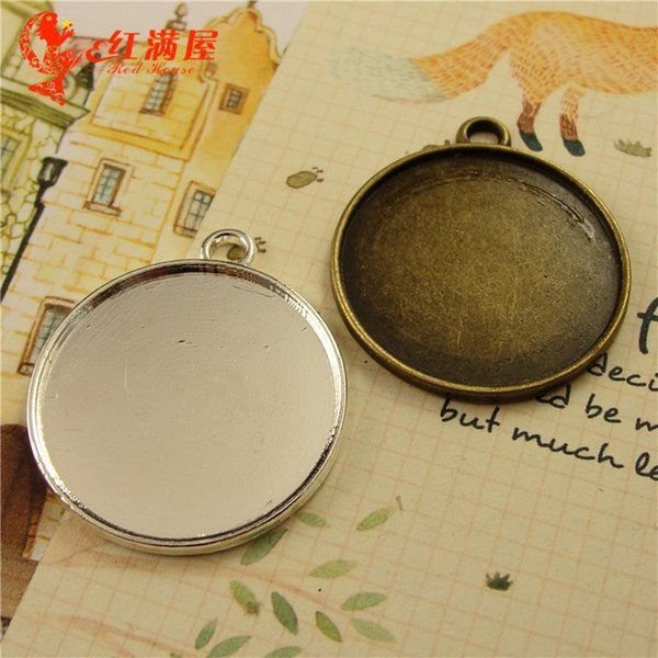 Fit 30MM round metal stamping blanks, alloy antique bronze cameo cabochon setting, tibetan silver pendant blank bezel tray