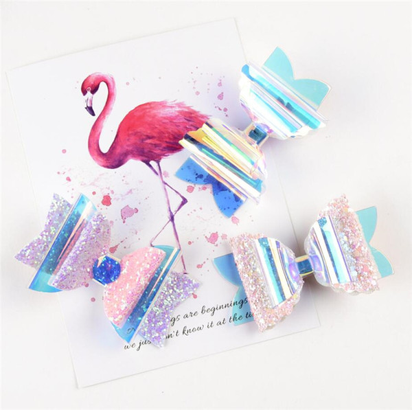 INS Sequin Glitter Laser Bowknot Hairpins Baby Girls Double Clips Bows Hair Clip Kids Transparent Barrettes Headwear Hair Accessories A51703