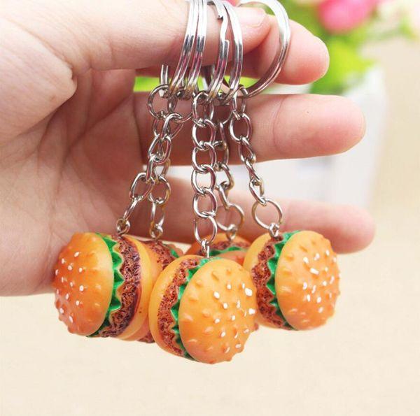 Cute Hamburger Keychain Simulation Food Hamburger Pendant Key Ring Novelty Key Chain Christmas Birthday Gift DHL Free Shipping