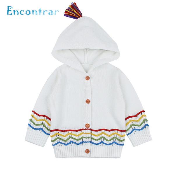 Encontrar Children Striped Hooded Sweater Coat Baby Girls and Boys Cute Winter Clothes Newborn Kids Jacket 6M-24M,DC503