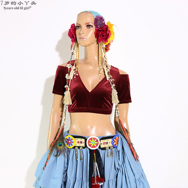 Belly Dance Velvet Fat Chance Tribal Choli Belly Dance Costume Short Brop Sleeve Top CJJ17