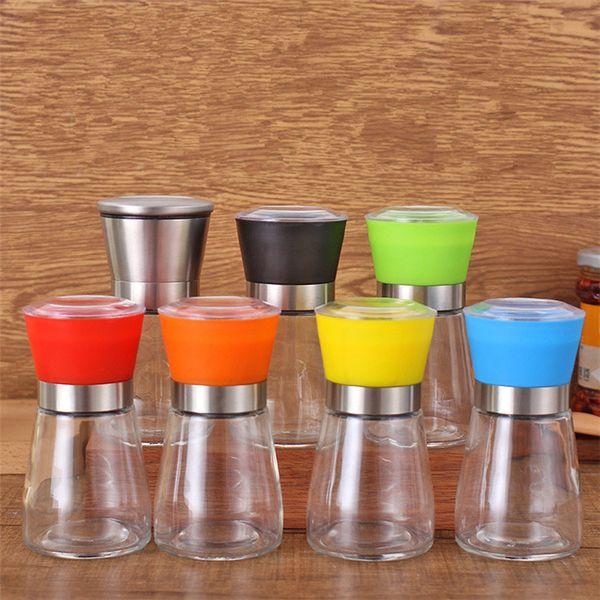 best selling Hand movement black pepper grinder Kitchen supplies glass grinder Shaker Salt Container Condiment jar T9I00157