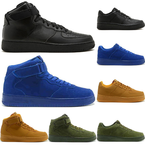2019 Classic Triple Black White Wheat Nike Air Force 1 Dunk Hombres Mujeres Casual Shoes Skateboarding Ones High Low Cut Brown Zapatillas Deportivas