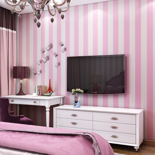 Pink Blue Stripes Wallpaper For Kids Room Baby Girls Boys Bedroom Decor Wallpapers Tv Backdrop Striped Wall Papers Roll Qz127