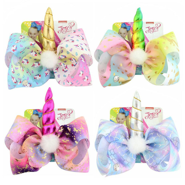 INS Jojo Siwa Unicorn Hairpin Girls Kids Bows Colored Unicorn Barrette Pin Baby Hair Clips with Paper Card Tag DIY Hair Accessories A32704
