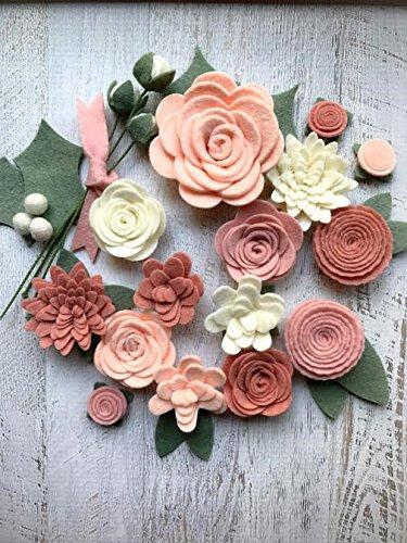 Wool Felt Flowers Blush Pink Christmas Embellishment 18 Flowers & 24 leaves Wreaths Garlands Metallic Gold add-on jewelry Hair Acces