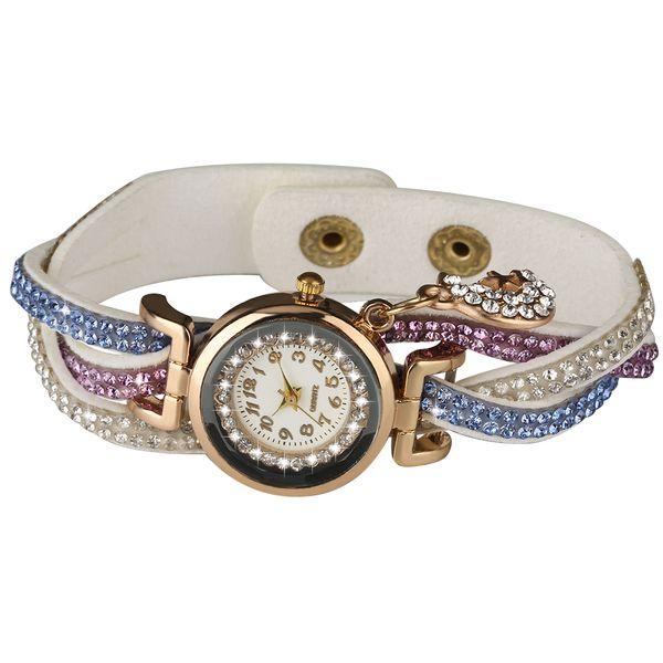 Delicado reloj de cuarzo para mujer con reloj de pulsera digital árabe árabe Reloj de pulsera Pintoresco elegante con diamantes incrustados de la luna Relojes de pulsera