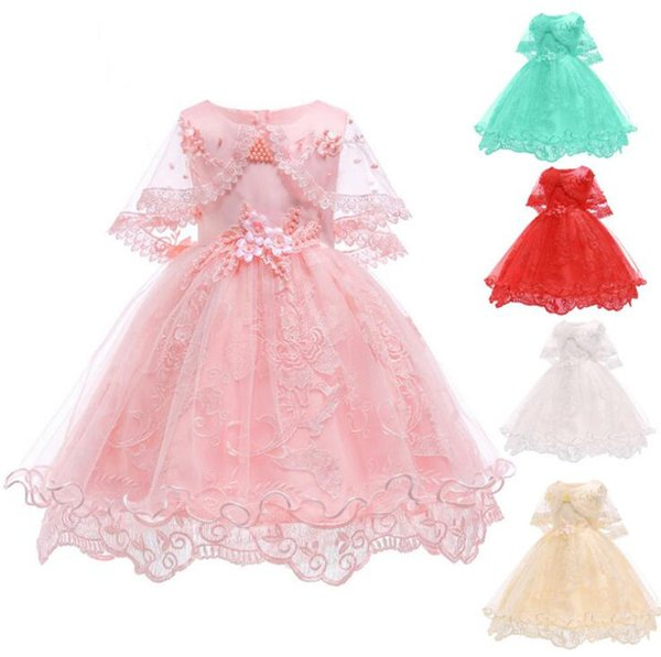 Flower Girl Dresses For Party Wedding Baby Girls 1st Years Birthday Outfit Cotton Children Girls First Communion Dresses