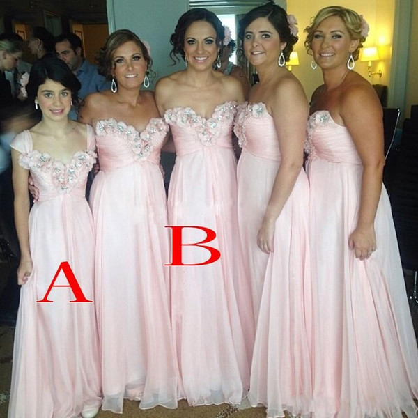 Vintage Pink Long Chiffon Bridesmaid Dresses 2018 Rhinestones Sweetheart Pleats Maid of Honor Gowns Mixed Styles Backless