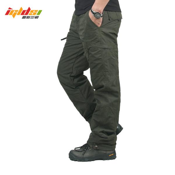 Men Winter Double Layer Men's Camouflage Cargo Pants Baggy Pants For Men Tactical Fleece Long Trousers Size M-3XL