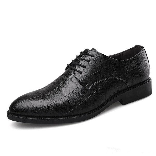 High quality Men Dress Shoes Italian Luxury Male Up Pointed Toe Oxford Shoes Casual Wedding Men Business Dress Pointy Black Shoes