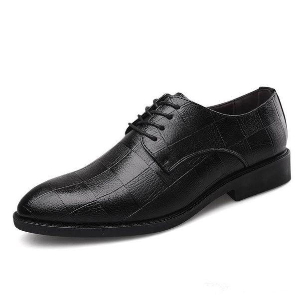 Homens de alta qualidade Vestido Sapatos Italiano de Luxo Masculino Up Apontou Toe Oxford Sapatos Casuais Homens de Negócios Vestido de Negócios Pointy Sapatos Pretos