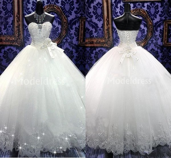 Luxury Biling Wedding Dresses Strapless Beaded Crystal Ball Gowns Floor Length New Castle Chapel Bridal Gowns Bow Charming Vestidoe De Noiva