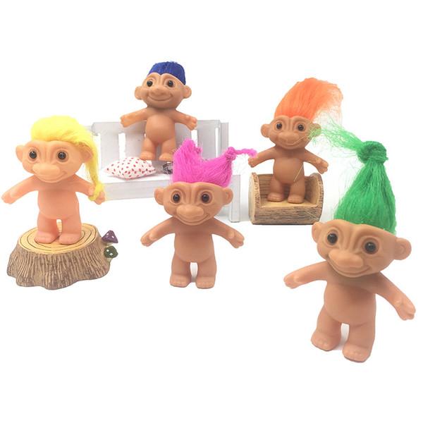 New 5 Styles PVC Doll Retro Troll Doll 6cm Long Hair Demon Hair Toys Elf Indian Hair Ugly Baby Doll Toys Children Birthday Gift