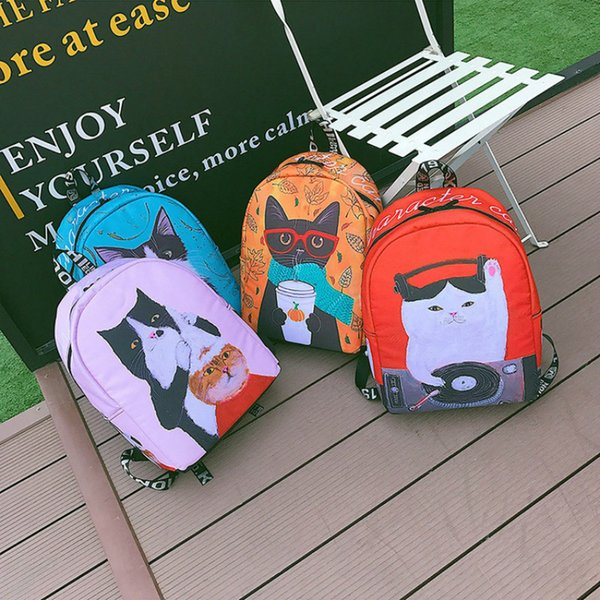 New Funny Cute Cartoon Cat Women Lady Backpack Large Capacity Canvas 2019 Spring Style Student Casual Appliques Backpack