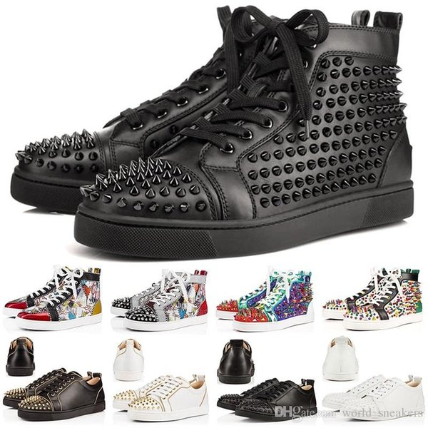 Botines rojos de diseñador Zapatos casuales Slip-on Roller Boat Hombres Mujeres Suede Spike Crystal Leather Sport Sneakers Tamaño 36-46 Envío de la gota
