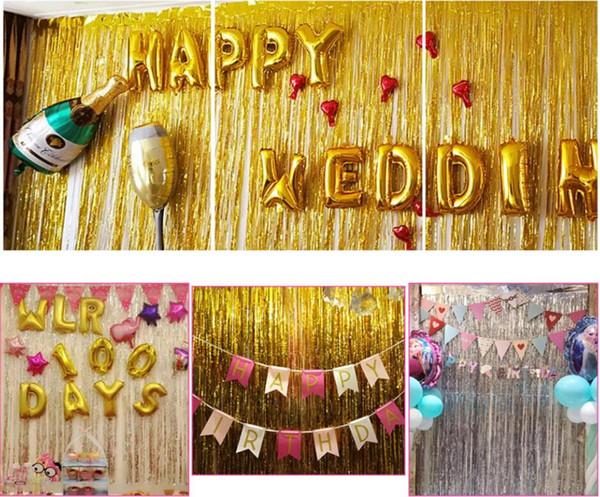 1x2 Meter Folie Fringe Lametta Vorhang Party Hintergrund Wand Hochzeit Fotografie Hintergrund Geburtstagsfeier Dekoration