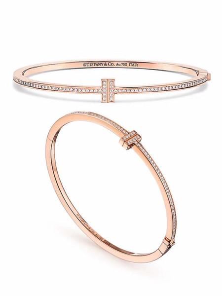 Damenschmuck 2019 Frühjahr und Sommer Mode Klassiker heiß und elegant elegant Vergoldung Poliert doppelt T voller Diamantarmband Armband