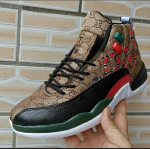 Yılan 12 GS Nesil Siyah Kahverengi Kırmızı Erkekler 2019 Basketbol Ayakkabıları Yeni stil 12 s Mens Snakeskin Renkli Spor Tasarımcı Sneakers Ile kutusu