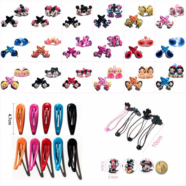 1pair Hairpins & 1pair Hairbands Cartoon Tsum Hair Clips Barrettes Ponytail Holders Hair Accessories for Girls Kids Gifts