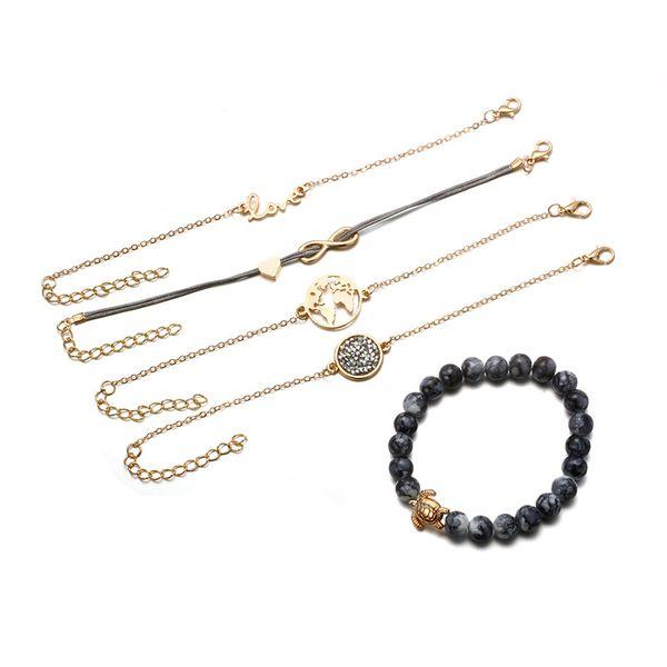 5Pcs/Set Charm Bohemian Turtle Bracelets & Bangles Fashion Gold Color Map Bracelets Sets Party Women Fashion Jewelry Christmas Gifts M260F