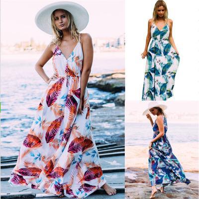 Vestidos de praia das mulheres vestidos de férias de verão da moda 2018 new arrival mulheres casual impresso vestidos sexy mulheres longo dress