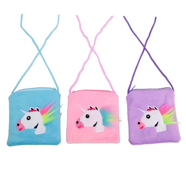 Unicorn Kids Coin Purse Cartoon Messenger Bag Children Zipper Pouch With Rope Cute Cosmetic Bag Infantil Snack Bag Furry Pocket A3114
