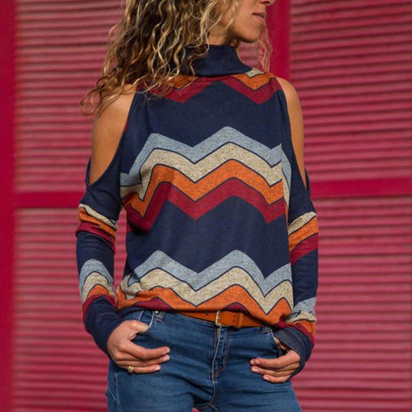 Langärmlige Hemden der Frauen neue 2019 Damen-Pullover-Pullover-Oberseiten-gestreifte bloße Schulter-Bluse Herbst-Winter-elegante Frauen-Oberseiten heiß