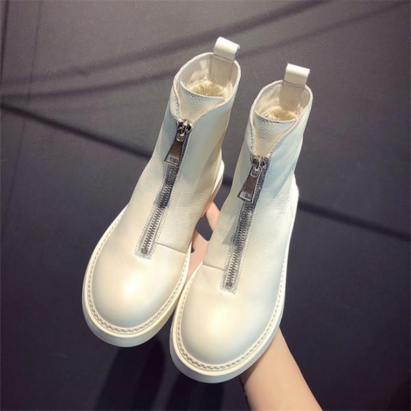 2019 nuove donne casuali scarpe di cuoio a caldo tubo corto Martin tendenza stivali moda invernale comodi stivali morbidi delle donne calde selvatici SH190926