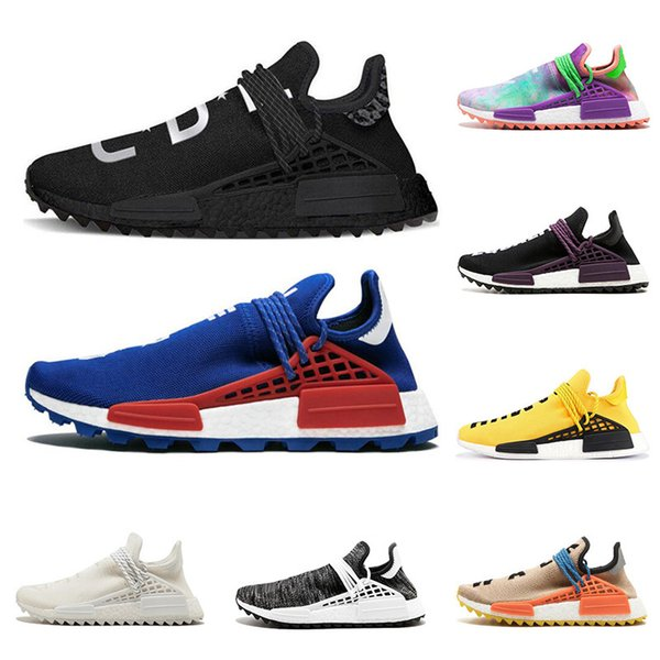 Compre 2019 Adidas Nmd Human Race Hu Trail Pharrell Williams Hombres Mujeres Zapatos Para Correr Nerd Negro Azul Para Hombre Zapatillas Deportivas De