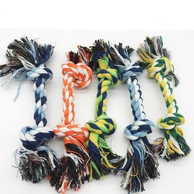 best selling Dog Chew Rope Bone Pet Supplies Puppy Cotton Durable Braided Funny Tool Double Knot Toy Pets Chews Knot Play Quickily Delivery